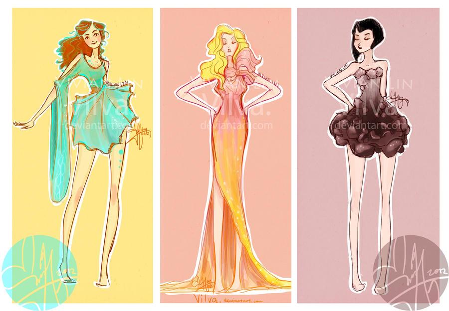 Hunger games dress sketches