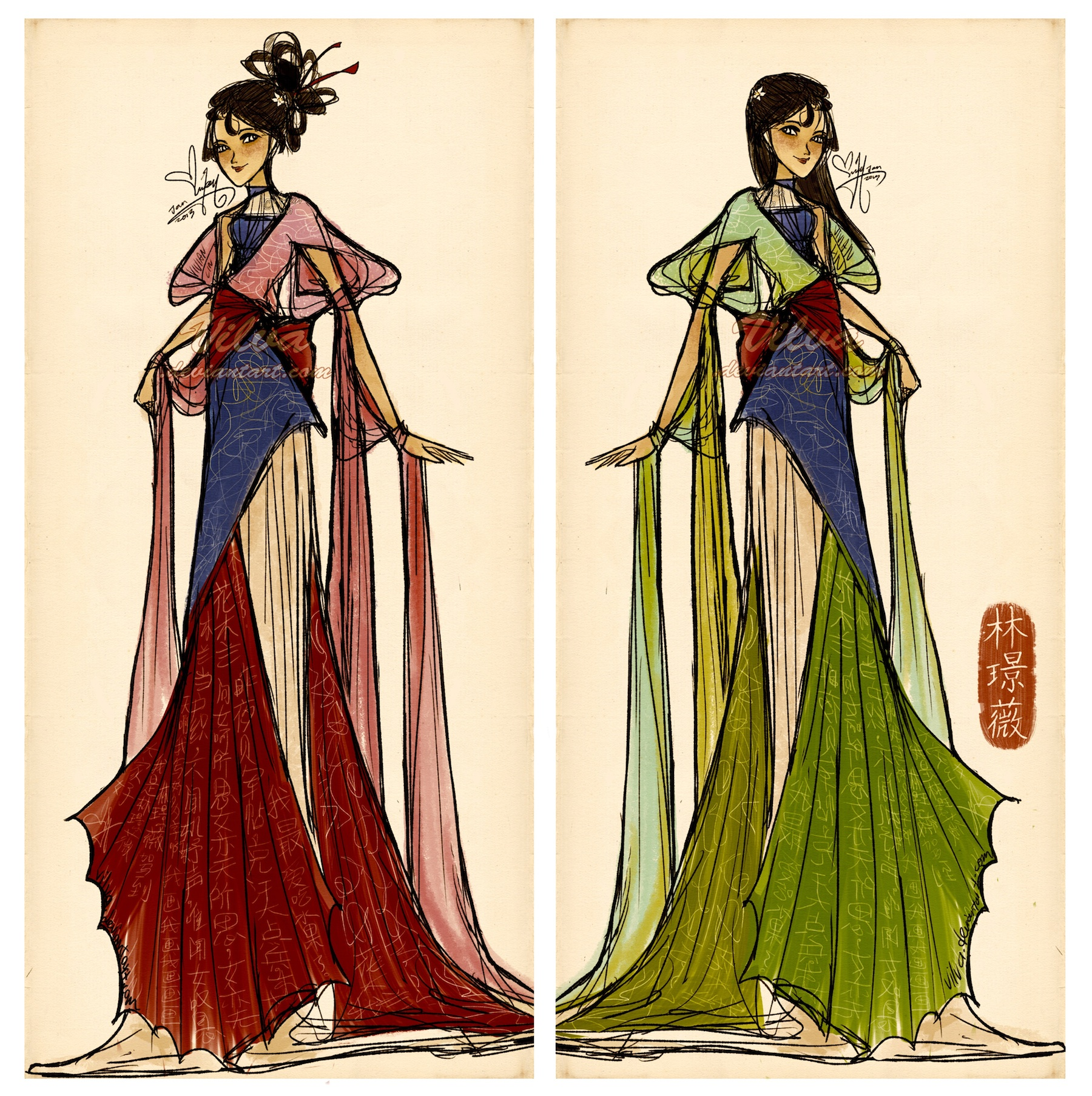 When will my reflection show? (Mulan dress design) by Vilva