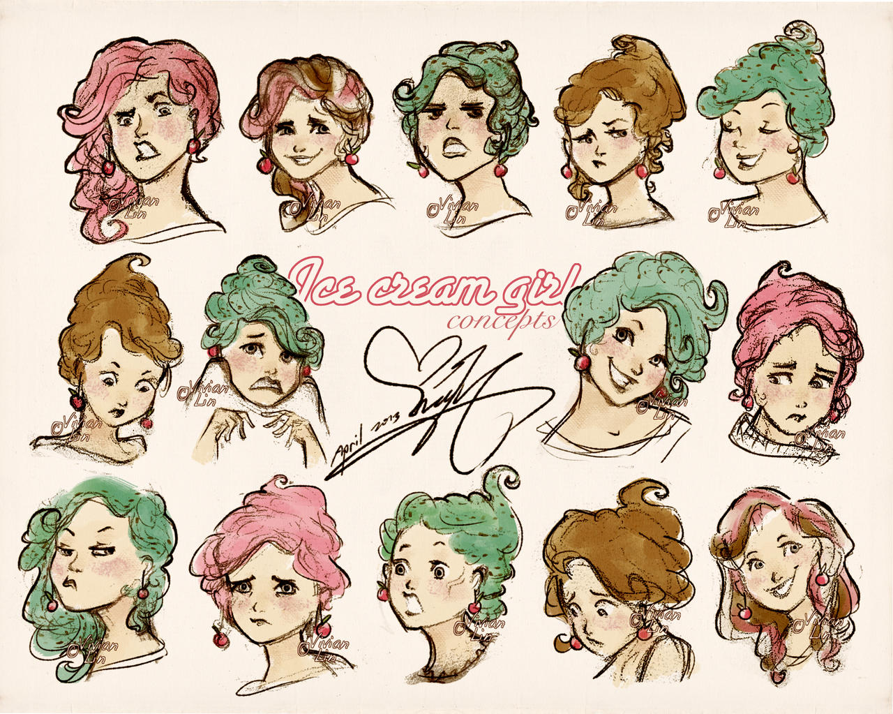 Character Design Expression Chart : Ice cream girl expressions sheet by vilva on deviantart