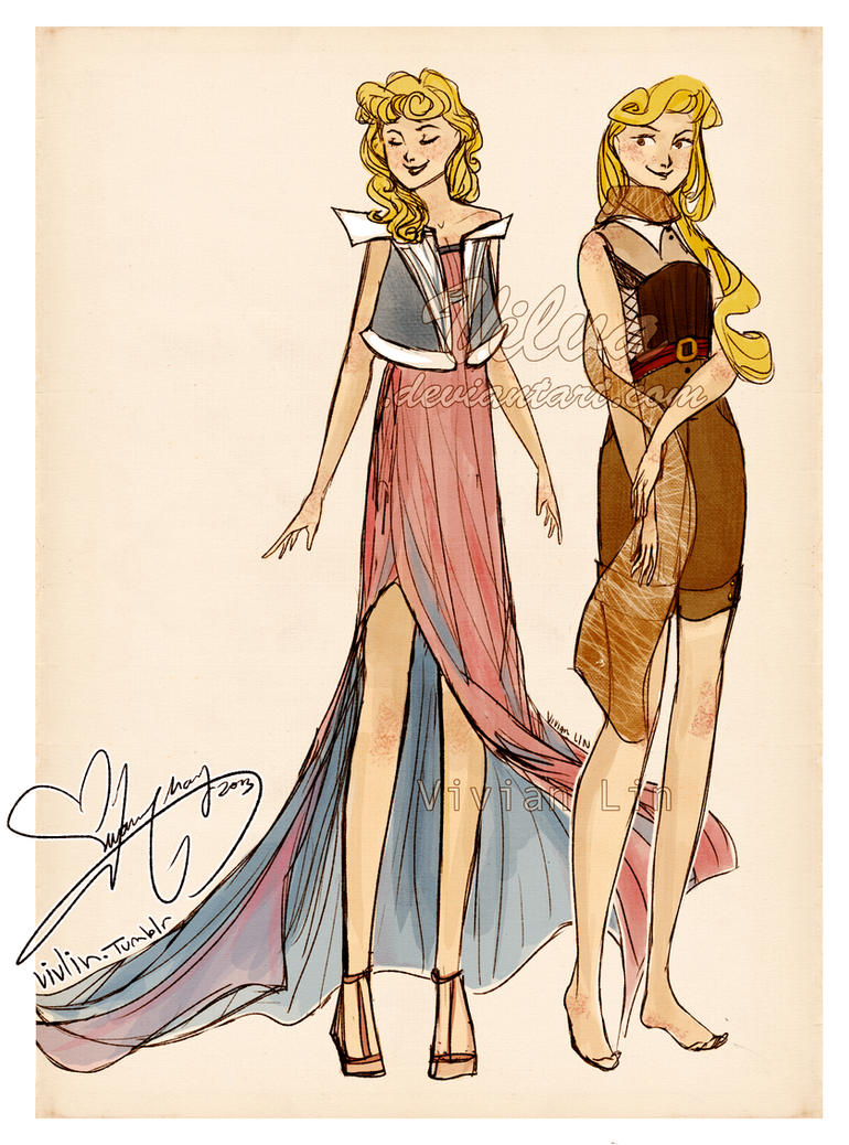 Aurora and Briar Rose (Outfit designs!) by Vilva