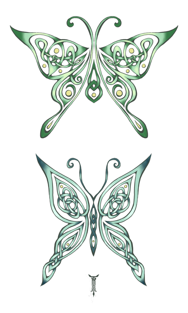 Celtic Luna Moths by TrollGirl