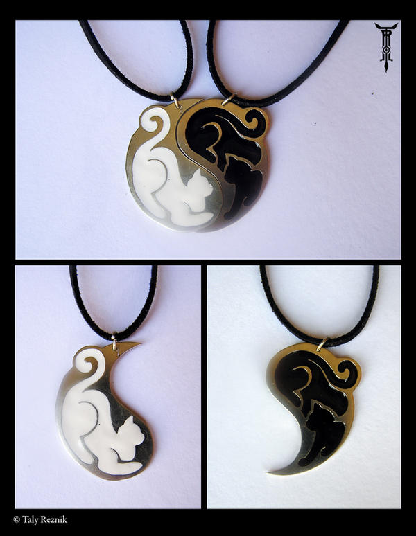 yin yang couple  awesome silver yin yang cat couple necklace pendant with yin yang couple