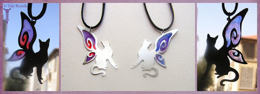 SwirlWing Cat Pendants by TrollGirl