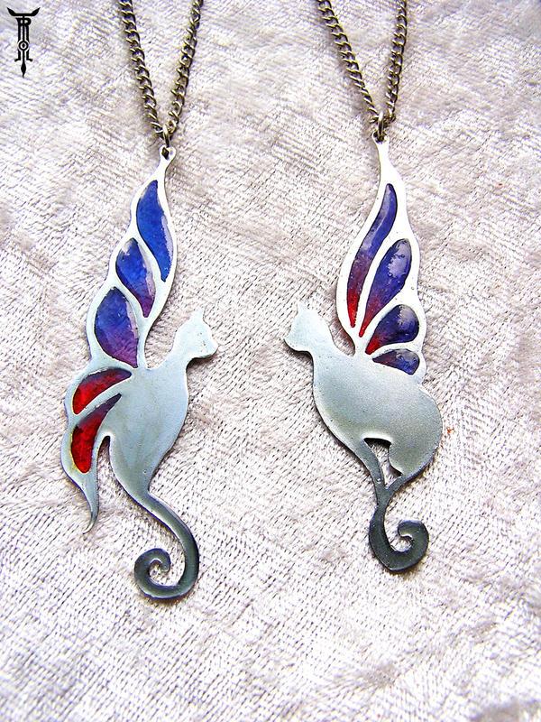 Fairy Wing Cat Pendants by TrollGirl