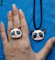 Grumpy Cat Ring and Pendant by TrollGirl