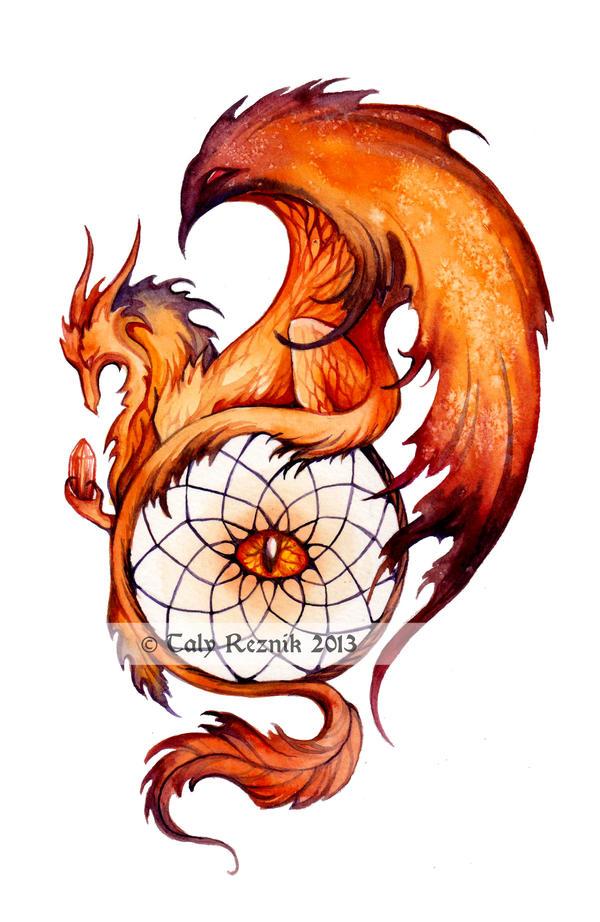 Драконы тату акварель