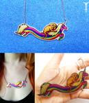 Adventure Time: Rainicorn and Jake necklace