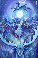 Nighttime Deer Dance by TrollGirl