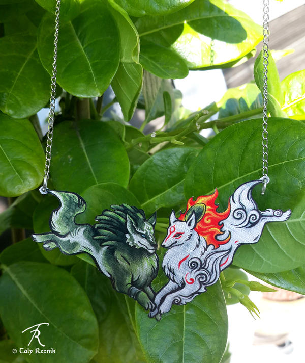 Okami and WolfLink necklace by TrollGirl