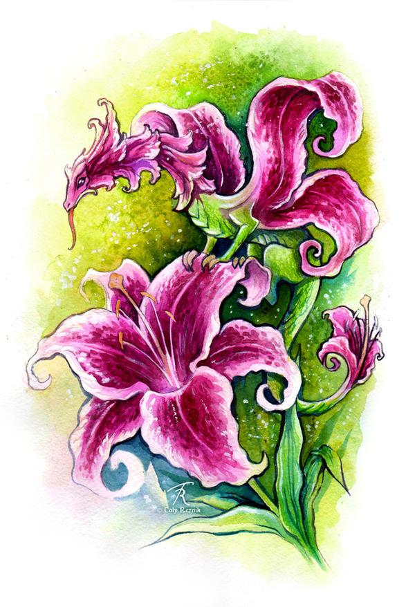 pink lily fairy dragon by trollgirl on deviantart. Black Bedroom Furniture Sets. Home Design Ideas