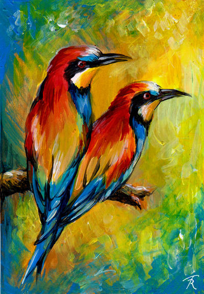 European Bee Eaters by TrollGirl