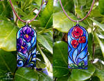 Stained Glass Flower Pendants