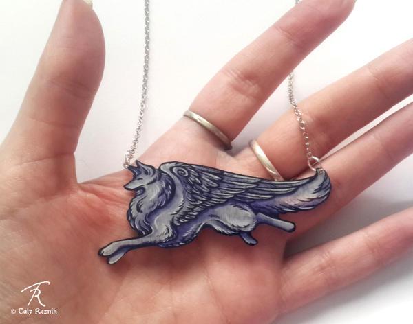 Grey Angelwolf Necklace by TrollGirl