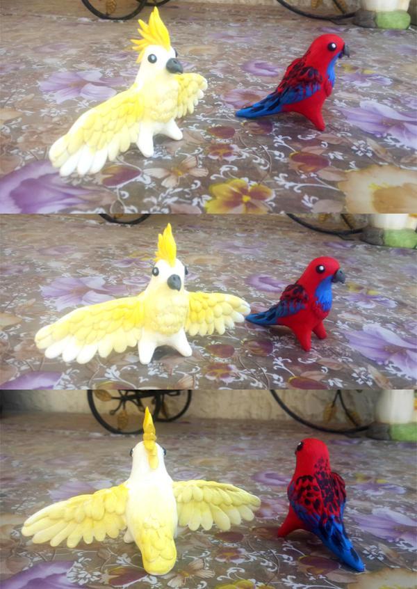 Australian Parrot Statues by TrollGirl