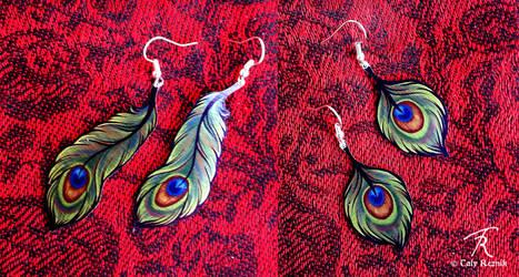 Peacock Deco Earrings by TrollGirl