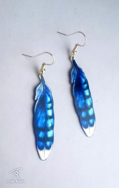Blue Jay Feather Earrings by TrollGirl