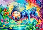 Chesh and Totoro by TrollGirl