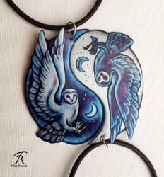 Owl Yin Yang Pendants by TrollGirl