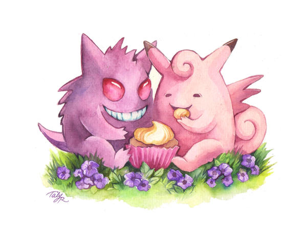 Pokemon Valentine - Gengar and Clefable by TrollGirl