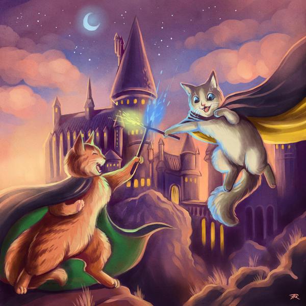 Cat Wizard Battle by TrollGirl