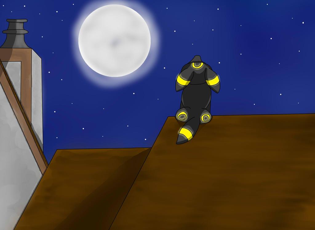 Rooftop Umbreon by vampireknight16
