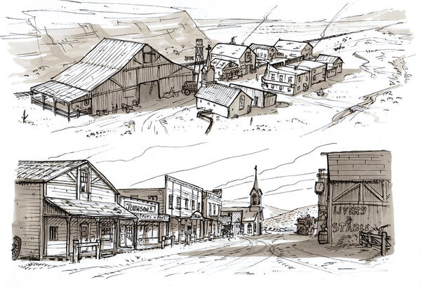 Cacique CaribeOld Western Town Drawing