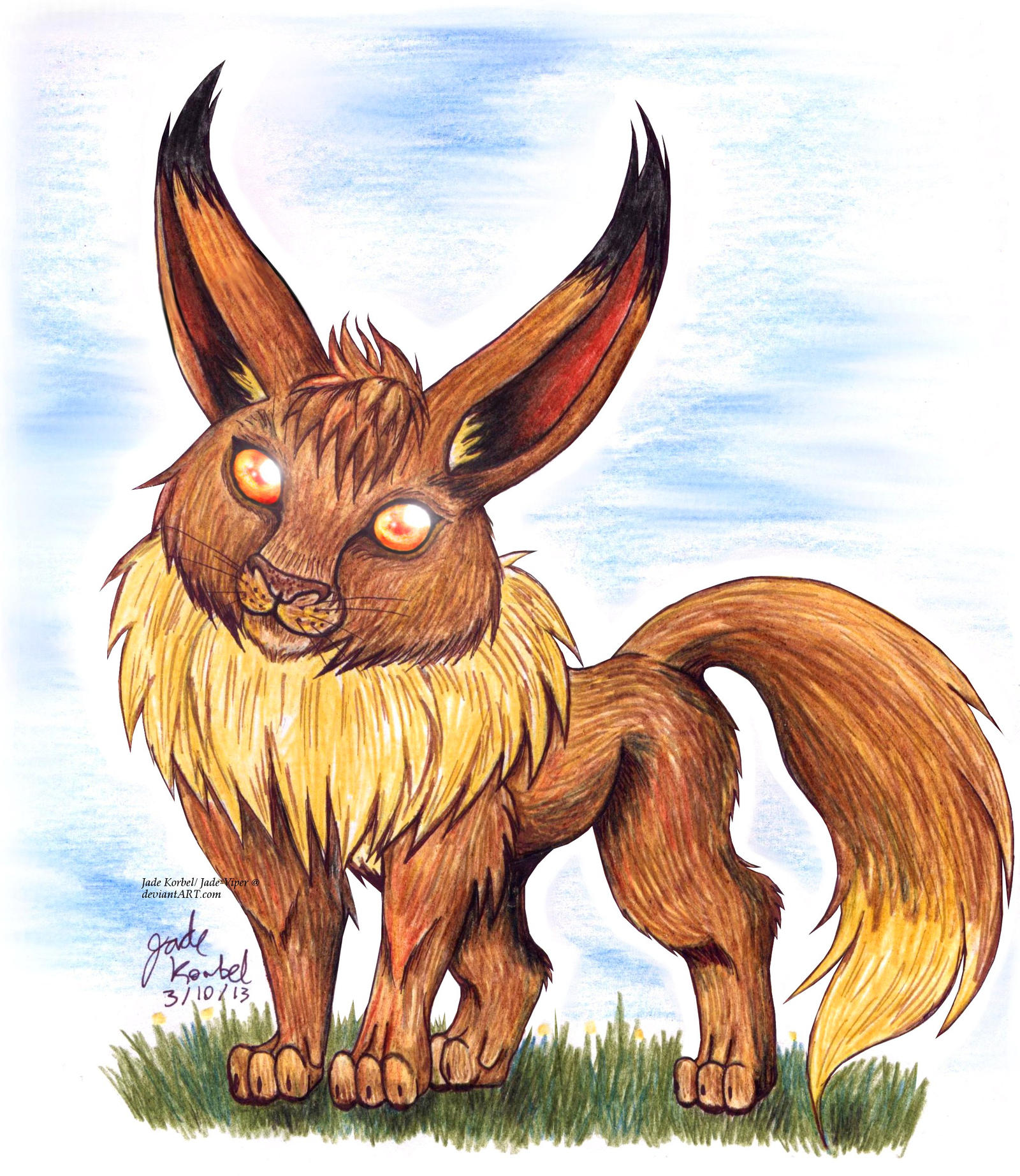 eevee colored pencil drawing by jade viper on deviantart