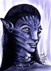 Neytiri Portrait Pencil Drawing by Jade-Viper