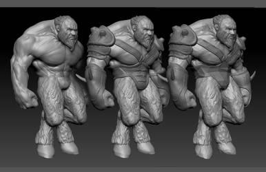 Satyr brute, of the Minotaur Cult by VanLogan