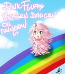 Pink Fluffy unicorn dancin' on rainbow