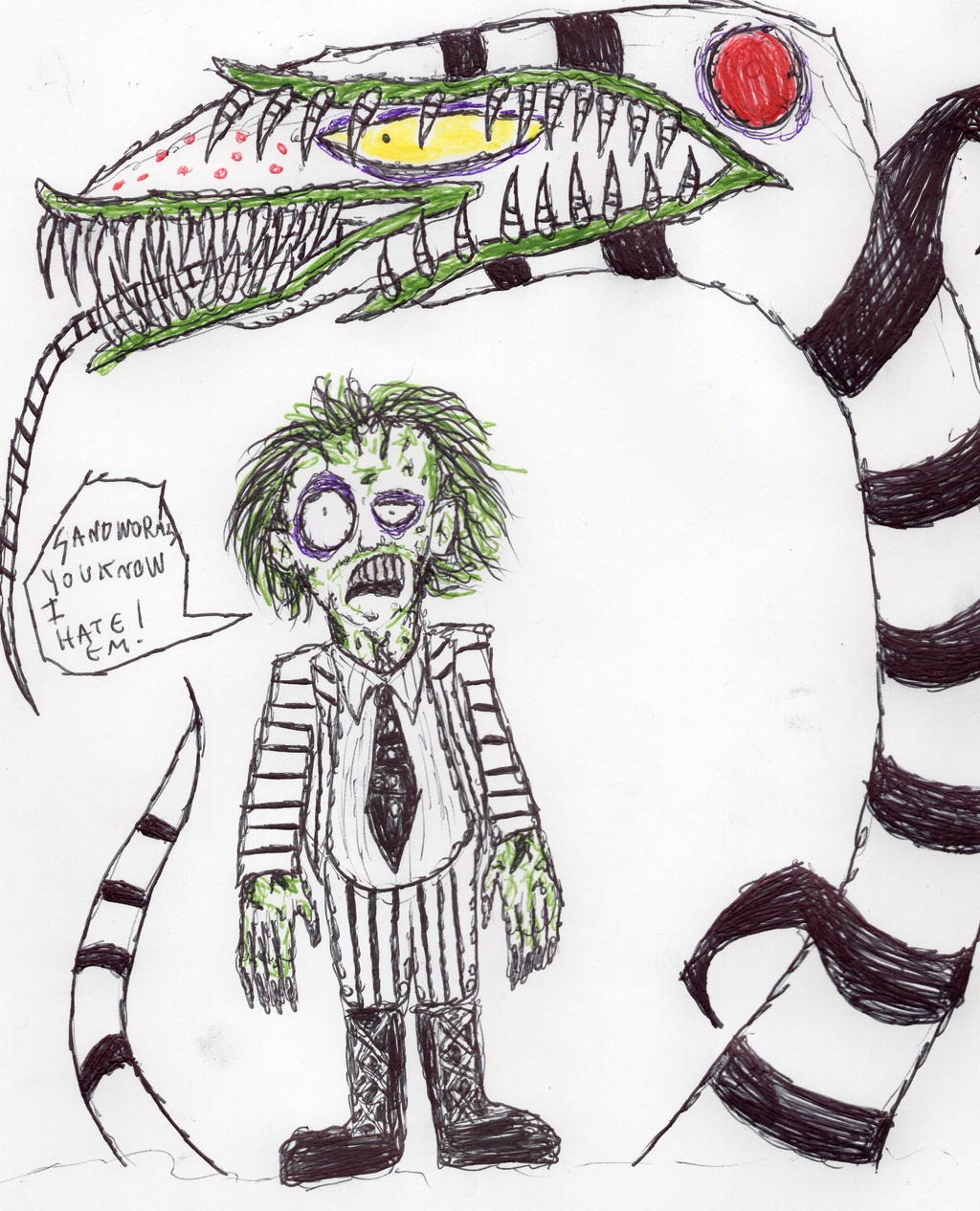Beetlejuice And The Sandworm By Floppsyproduction On Deviantart