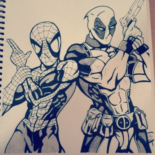 Spidey and Deadpool by fromlusttodust