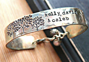 family trees hand stamped bracelet