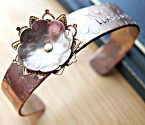 copper and filligree personalized cuff bracelet