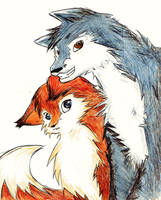 Fox and Wolf by Or003