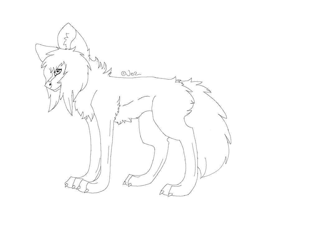 Wolf Lineart : M s paint friendly female wolf lineart by jekkuilija on deviantart