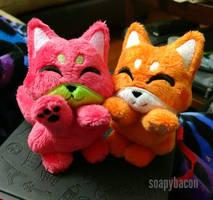 Watermelon + Orange Fox Beanies by TheHarley
