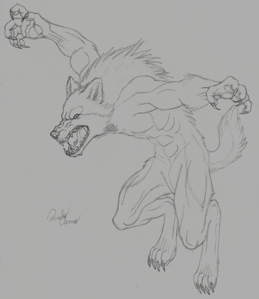 Jumping Werewolf by MinakoWolf37