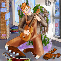 Milo Playing Baritone Uke In His Room by destructoPop