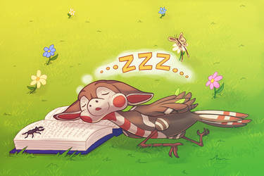 Chirp Falls Alseep Reading in the Meadows