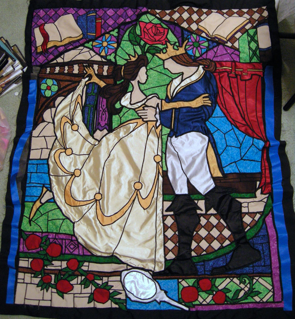 Beauty And The Beast Stained Glass Window Quilt By