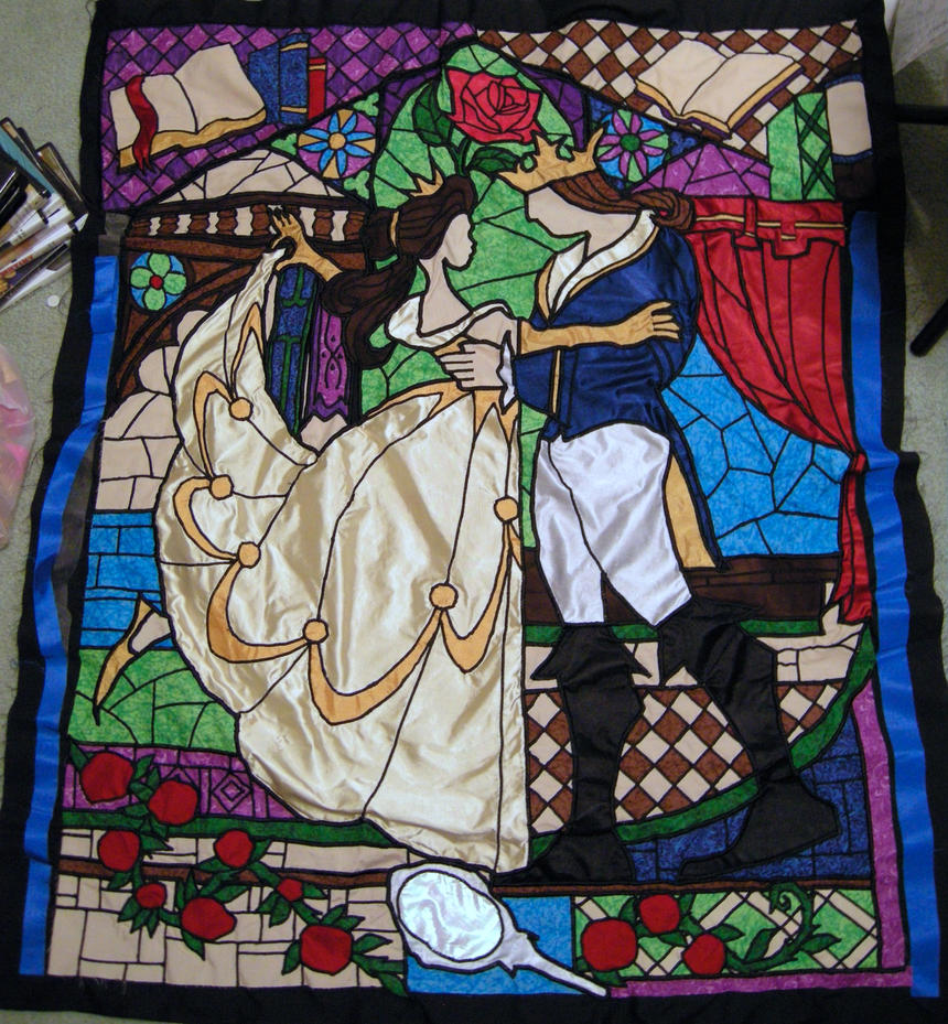 Beauty and the Beast Stained Glass Window Quilt by BrightPhoenix10 ... : stained glass window quilt pattern - Adamdwight.com