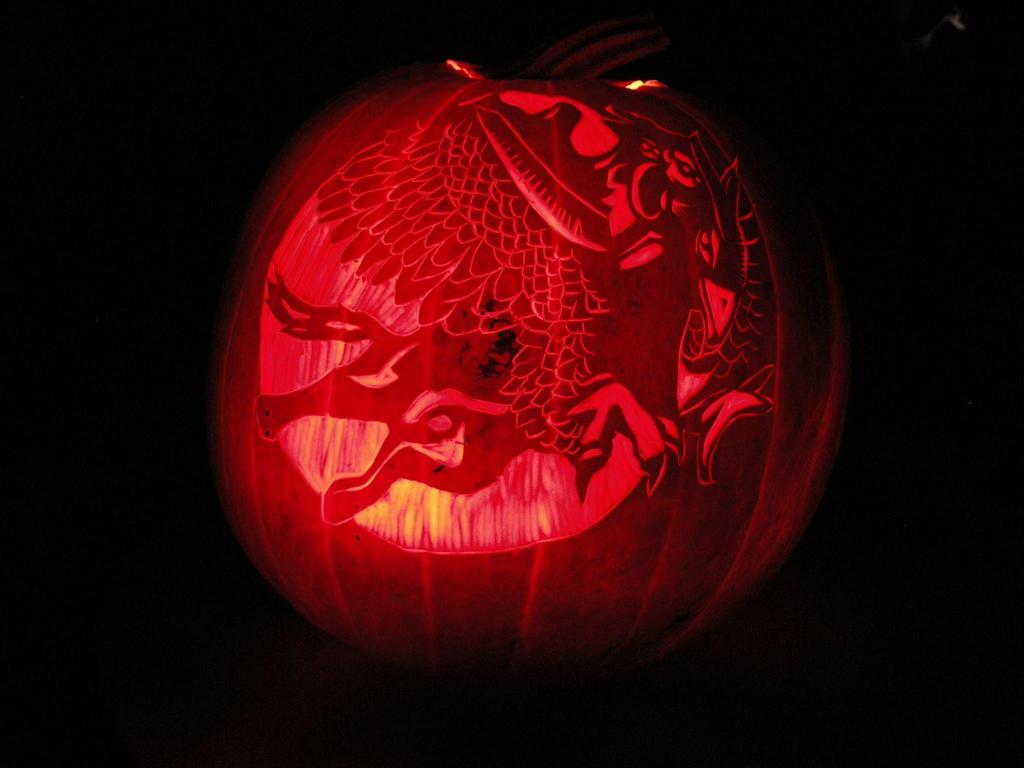 Harry, Hermione, Buckbeak Pumpkin by BrightPhoenix10
