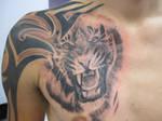 tiger chest tattoo