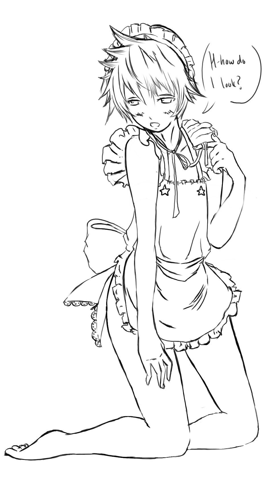 Anime Maid Outfit Drawings Sketch Coloring Page