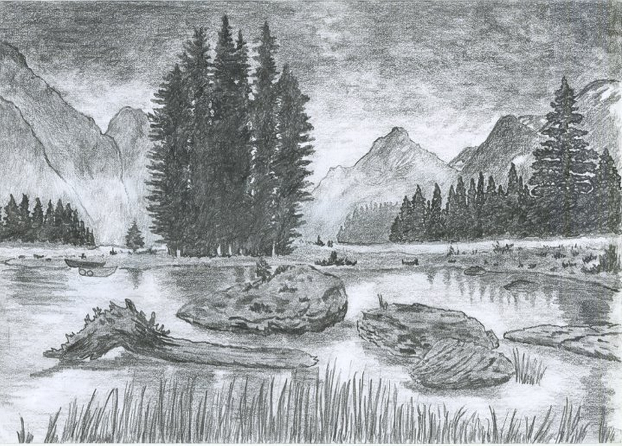 Pencil Sketches Of Nature Scenery Pictures Of Scenery Of...
