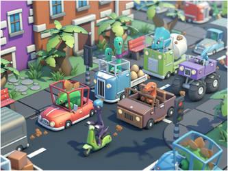 Dino traffic jam by LiToKi