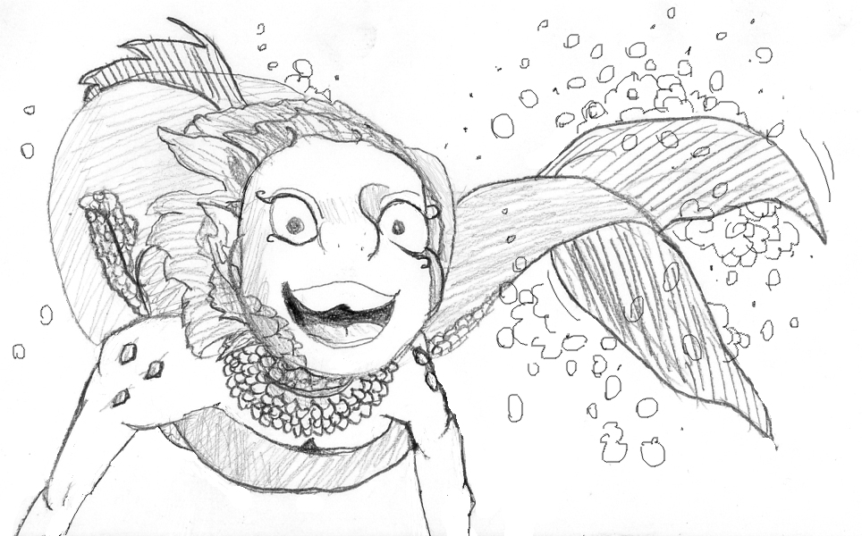 Goldfish Gal OC by GreenMysteryArt