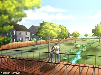 Landscape Renderings - Greenway Bio-Swale by foogie