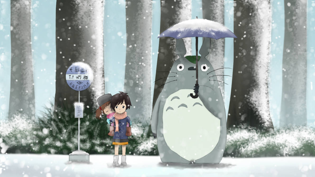 My Neighboor Totoro: Waiting for the bus (Winter)